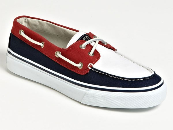 Boat Shoes For Men - Sperry Top-Sider Bahama 2-Eye Slip-On,Navy/Red