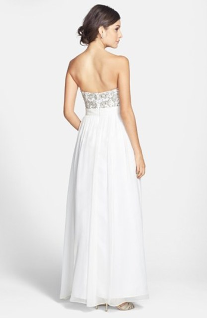 Beaded Bodice Silk Georgette Open Back Gown - 2