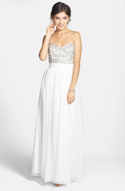 Beaded Bodice Silk Georgette Open Back Gown
