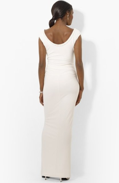 Beaded Scoop Neck Matte Jersey Open Back Gown - 2