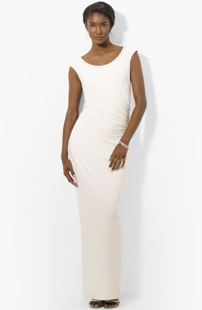 Beaded Scoop Neck Matte Jersey Open Back Gown