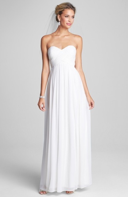 Laura' Ruched Sweetheart Silk Chiffon Gown
