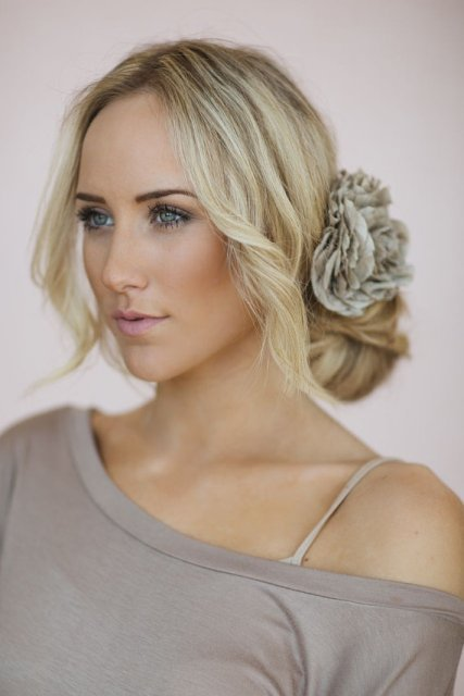 BRIDESMAIDS UPDO WITH FLOWER HAIR CLIP