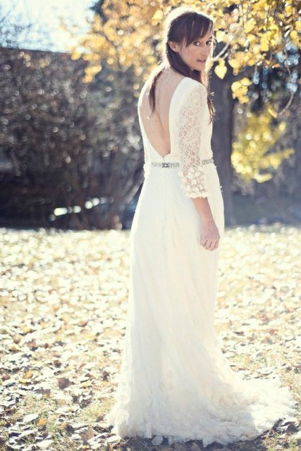 Open Back Wedding Dresses With Sleeves