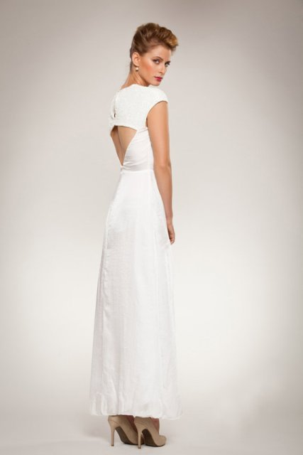 Open Back and a Flared Skirt Wedding Dress