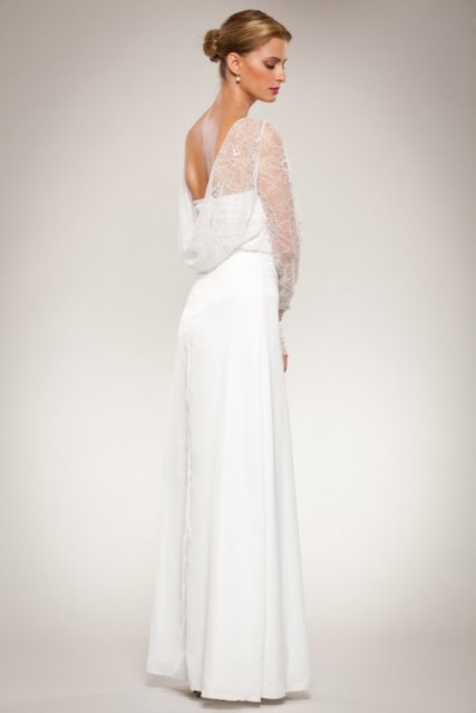 Open Cowl Neck Draped Back Wedding Dress