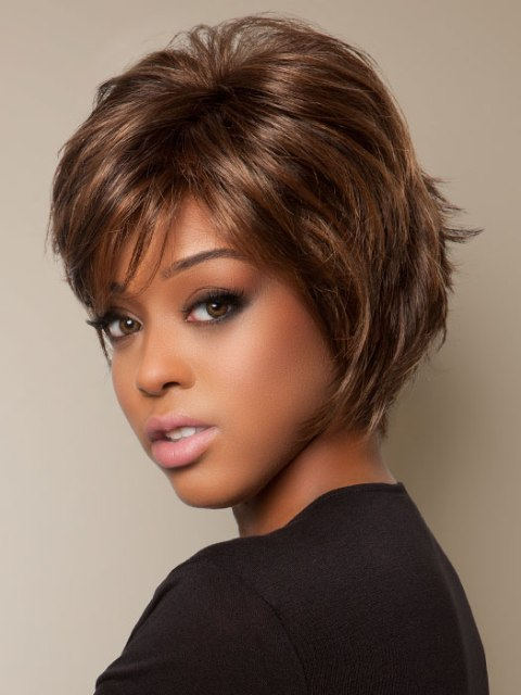 ... - Short Thick Hair Hairstyles African American Layered Feathered Bob
