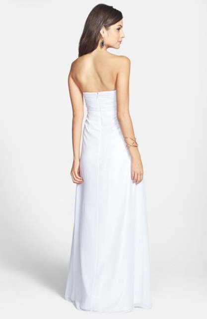 Strapless Foil Chiffon Open Back Gown - 2