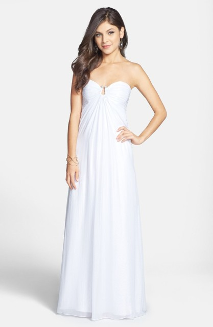 Strapless Foil Chiffon Open Back Gown