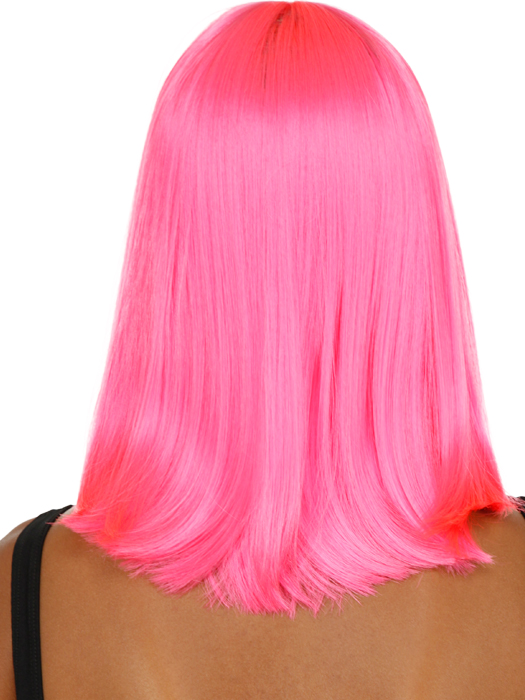 Hair style for straight hair with color (pink)