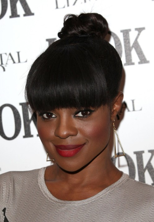 Updos for black women with bangs