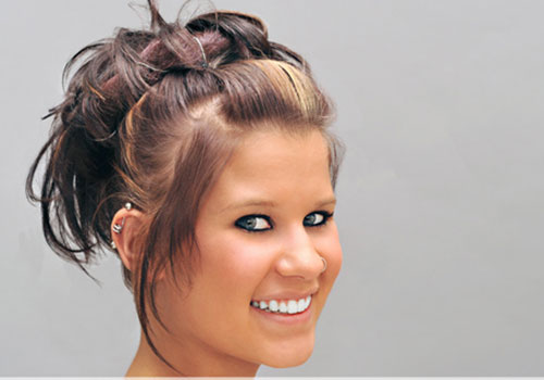 Simple updos for long hair, for round shape faces