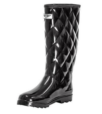 Women's Quilted Waterproof Rubber Rain Boots - Tall Mid-Calf Wellies Boots