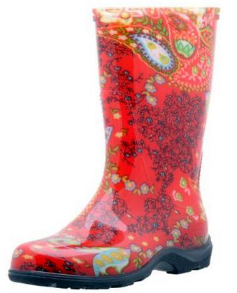 "Sloggers Women's Rain and Garden Boot with ""All-Day-Comfort"" Insole, Paisley Red"